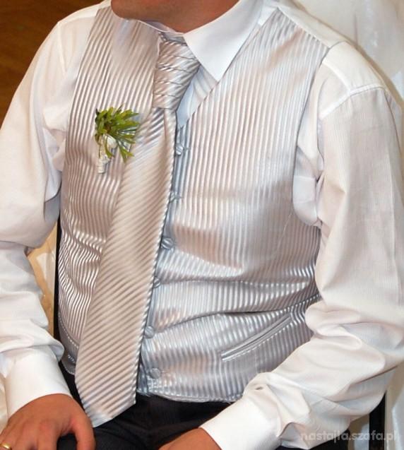 Srebrna kamizelka ślubna w delikatne prążki