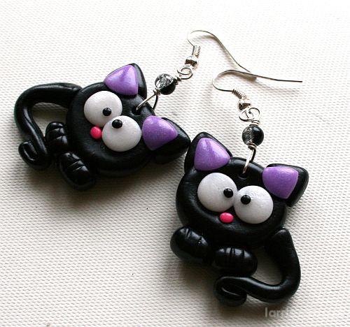 Kolczyki Czarne koty kotki modelina kolczyki