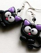 Czarne koty kotki modelina kolczyki