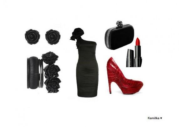 Eleganckie Czarno czerwony elegancki zestaw