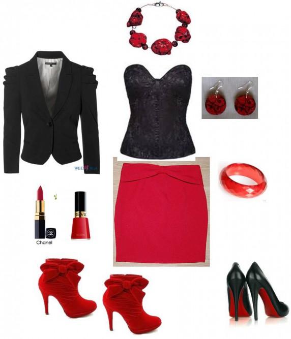 Eleganckie Czerwono czarny zestaw