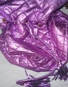 różowa metaliczna pikowana torba worek...