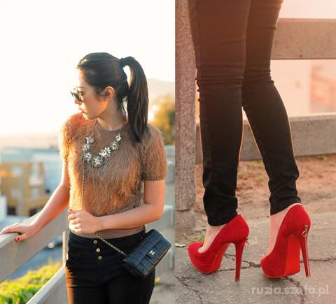 Czerwone szpilki zip