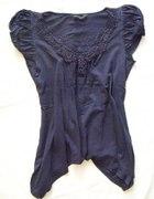 Granatowa asymetryczna haftowana bluzka M