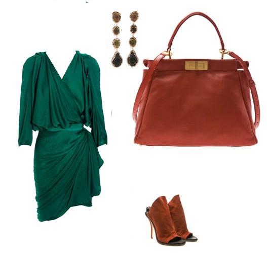Eleganckie Zielony satynowy lanvin