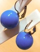 niebieskie kolczyki kulki wiszące PIĘKNE