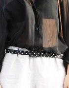 Transparentna koszula czarna koronkowa