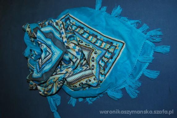 Chusty i apaszki chusta turkusowa z frędzlami