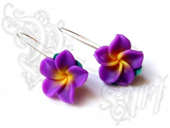 Kolczyki Kwiaty Hawajskie Fimo Na Dużych Biglach W Kolczyki