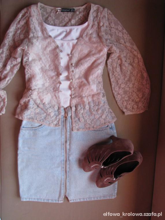 Romantyczne Mini ołówkowa na zip i koronkowa bluzeczka