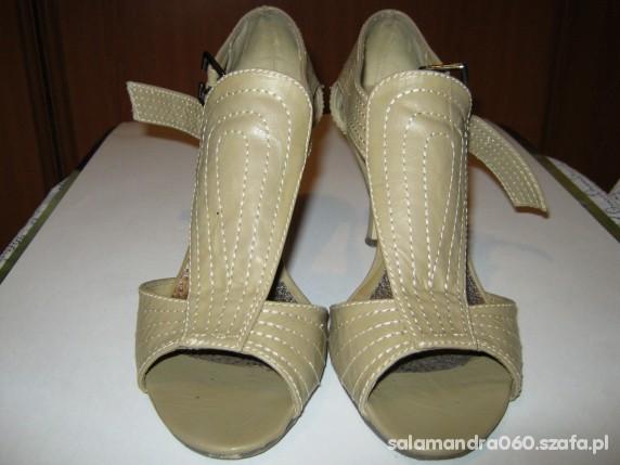Sandały Beżowe z jasną nicią