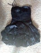 Ekstra czarna sukienka bombka z cyrkoniami