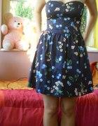 Granatowa wiśniowa sukienka...