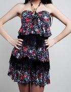 sukienka tunika w kwiaty z falbankami