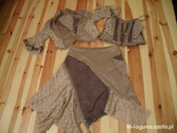 Mój styl komplet 3 częściowy spódniczka gorset i żakiet