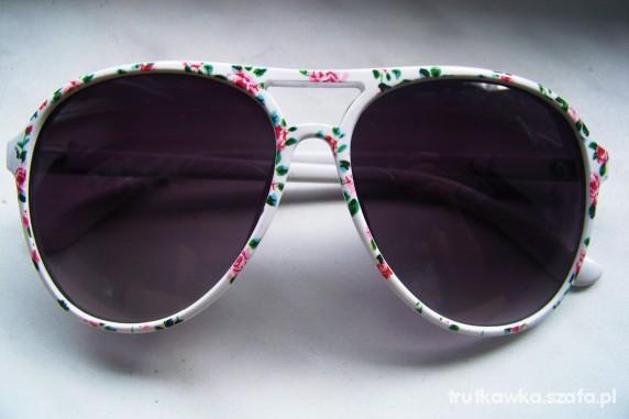 Okulary Primark Opia floral kwiaty białe