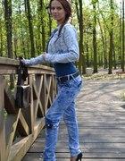 jeansy kurtka Danity czarne szpilki platformy