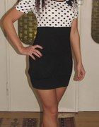 retro sukienka bufki kokarda grochy