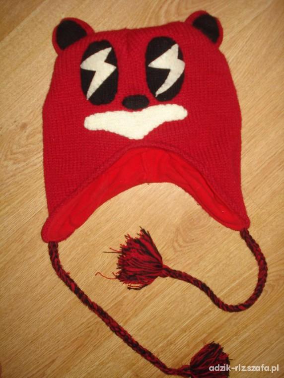 CLAIRES czerwona czapka zimowa miś harajuku crazy