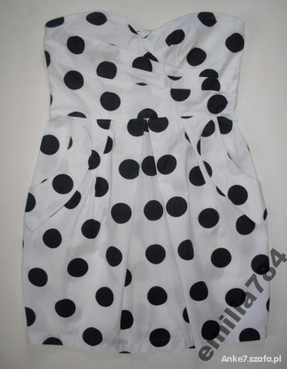 biala w czarne groszki kropki