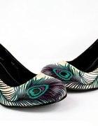 Czółenka TUK A7828L buty nude pawie pióro