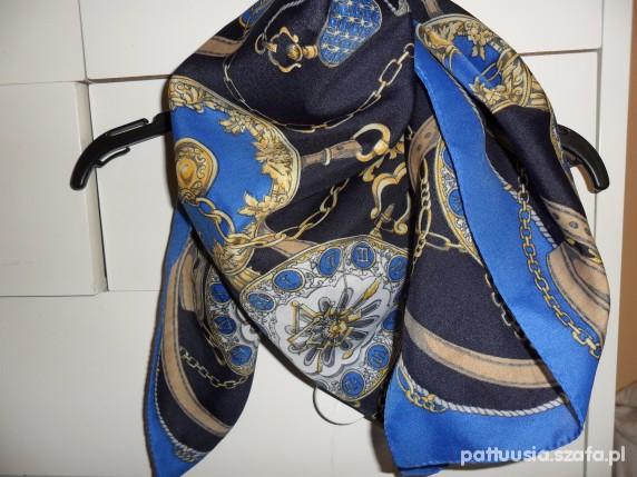 Chusty i apaszki vintage kobaltowa apaszka jak Hermes
