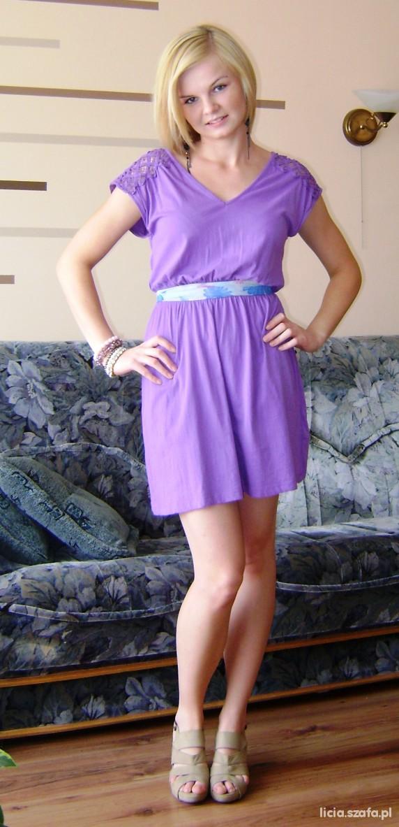 Eleganckie Fioletowa sukienka