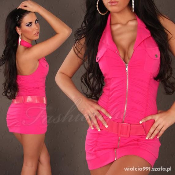Sexi mini sukienka na zameczek różowa