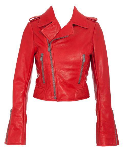 czerwona kurtka ze skóry