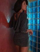 wieczorowa srebrno brokatowa sukienka mini
