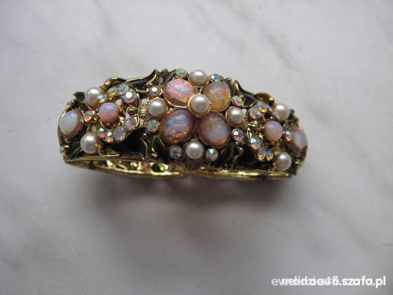 pierścionek zloty pozłacany srebrny cyrkonie opale
