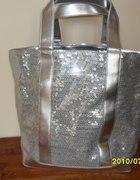 duża srebrna torba