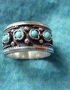 srebrna ormiańska obrączka z turkusami