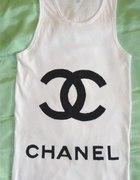 biała bokserka tunika oversize Tshirt CHANEL