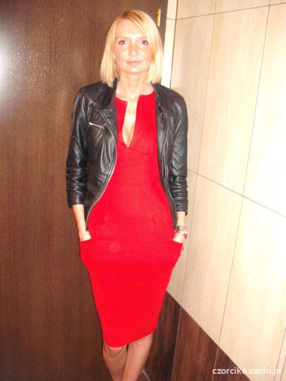 Eleganckie asos czerwona zara skóra beckham