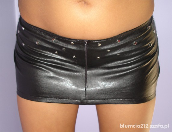 Spódnice czarna MINI sexi GO GO skóra latex ćwieki S