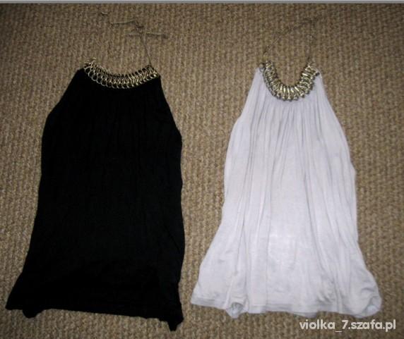 włoskie bluzki czarna & szara plus złoty wisiorek