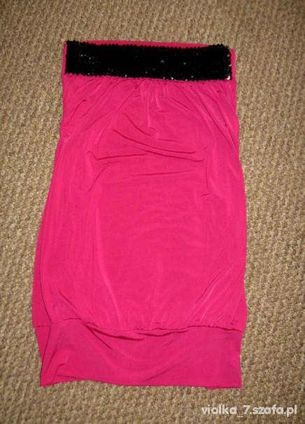 różowa tunika z czarnymi cekinami