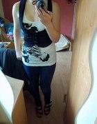 zebra kamizelka jeansy i szpilki
