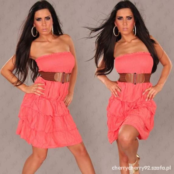 Sukienka bez ramiączek koralowa