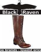 ELLOS Knee High Lace Up Leather Boots Brown 42