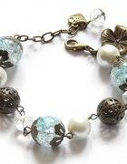 Błękit i perły w starym złocie