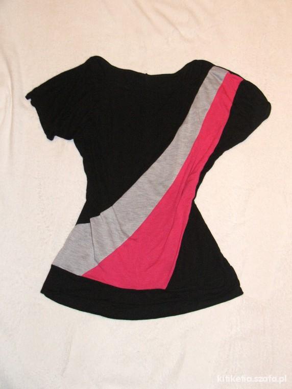 Tunika koszulka różowo szara