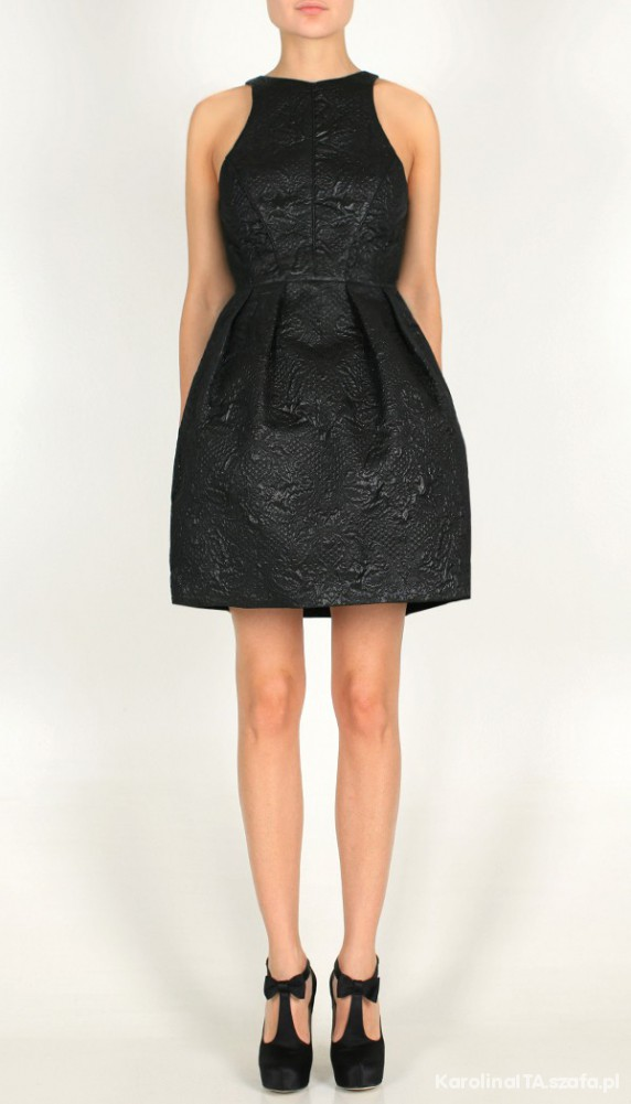 Tibi Sleeveless Metallic Jacquard Dress