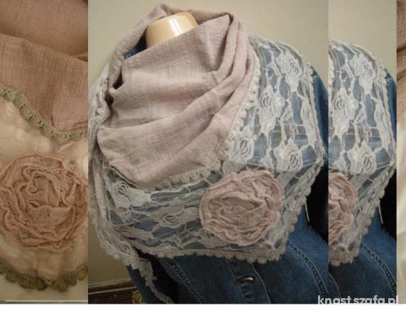 Chusty i apaszki NOWA chusta z kwiatkiem pudrowy róż