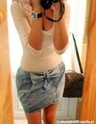 H&M Spódniczka jeansowa z kokarda