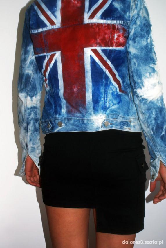 Odzież wierzchnia kurtka jeansowa marmurka punk rock flaga angielska