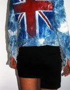kurtka jeansowa marmurka punk rock flaga angielska...
