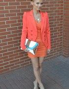 orange marynarka sukienka atmosphere torebka