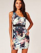 Lipsy Stardust Print Pleat One Shoulder Dress